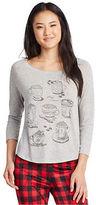 Aeropostale Womens Lld 3/4 Sleeve Hot Cocoa Sleep Tee Shirt Gray
