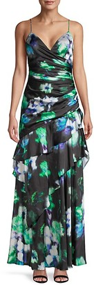Theia Floral Ruffle Slip Gown