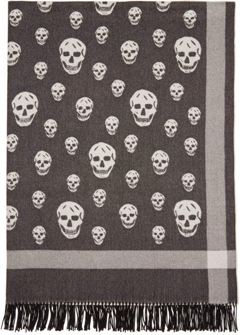 Alexander McQueen Black and Off-White Big Skull Shawl Scarf