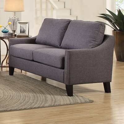 """Thumbnail for your product : Winston Porter Pine Lake 48"""" Linen Recessed Arm Loveseat Upholstery: Gray"""