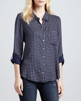 Soft Joie Anabella Plaid Tab-Sleeve Blouse