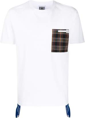 Les Hommes Urban plaid pocket T-shirt