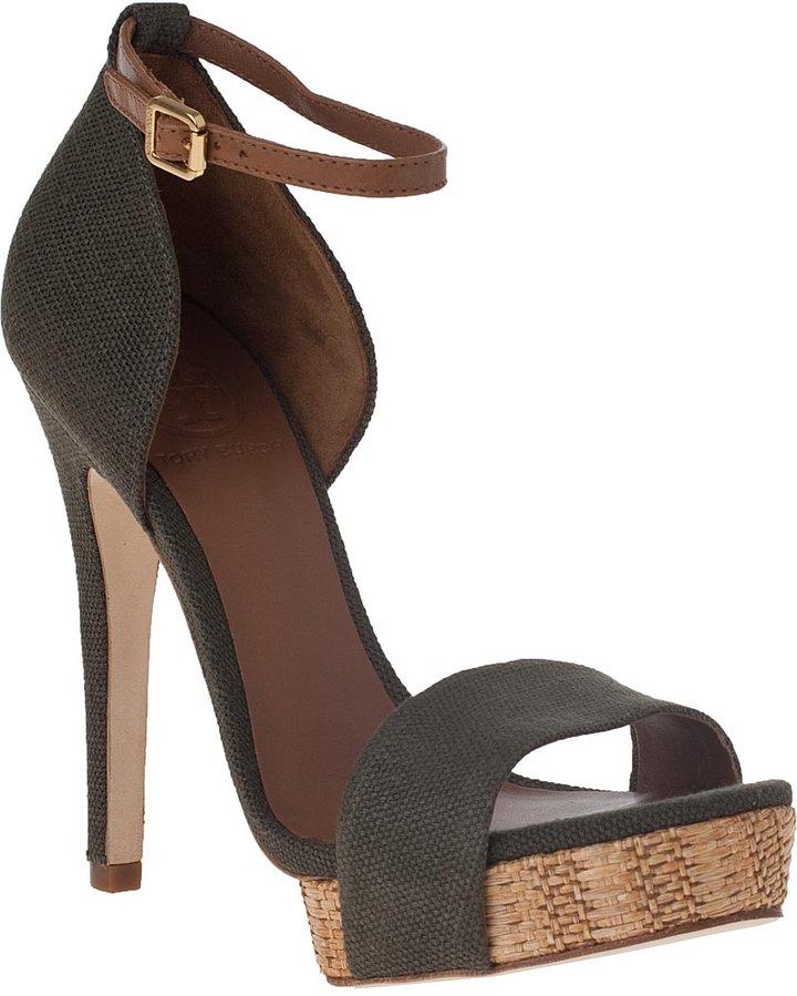 Tory Burch Amina Platform Sandal Olive Fabric