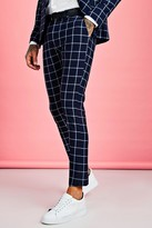 boohoo Mens Navy Skinny Large Scale Windowpane Check Suit Trouser, Navy