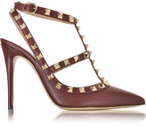 Valentino Rockstud Rubin Deer Leather Ankle Strap Sandal