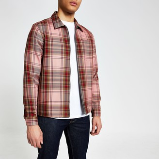 River Island Mens Red check zip front regular fit overshirt