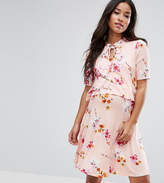 Asos Nursing Tie Neck Double Layer Frill Dress