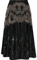 Sandro Hajar Embroidered Corded Lace Midi Skirt