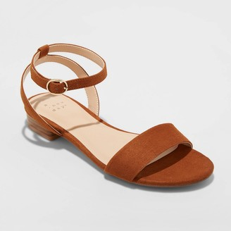 A New Day Women's Makenzie Wide Width Microsuede Ankle Strap Sandals Cognac 5W