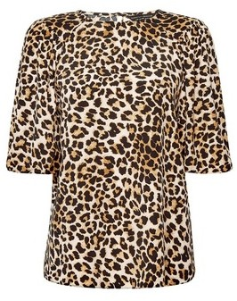 Dorothy Perkins Womens Brown Animal Print Puff Sleeve Top, Brown