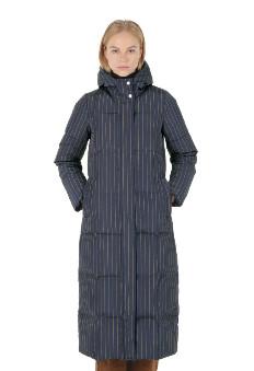 Spoom - Werra Long Navy Stripes Puffer Down Coat - Navy Stripes | nylon | 34