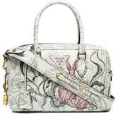 Prada White Rabbit print Leather tote bag