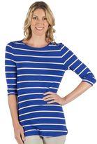 Larry Levine Women's Striped Embellished Boatneck Tee