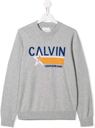 Calvin Klein Kids TEEN embroidered logo jumper