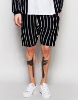 Asos Knitted Shorts With Pinstripes