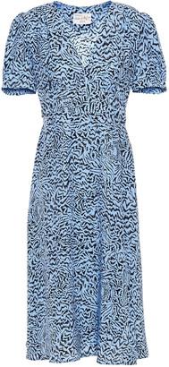 HVN Paula Gathered Printed Silk-satin Crepe Midi Dress