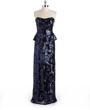 dav DAVID MEISTER Strapless Sequined Peplum Dress
