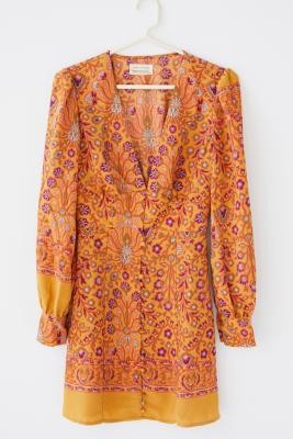 Urban Outfitters Michelle Orange Floral Long-Sleeve Mini Dress - Orange XS at