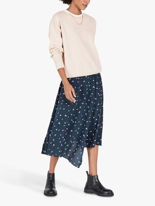 Hush Felicia Heart Print Split Midi Skirt, Blue