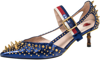 Gucci Blue Leather Unia Studded Buckle Strap Pointed Toe Pumps 37.5