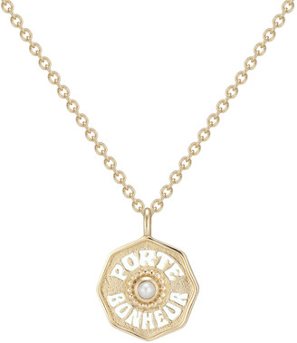 Marlo Laz Mini Porte Bonheur Coin Necklace