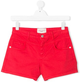 Alberta Ferretti Kids TEEN I Love You denim shorts