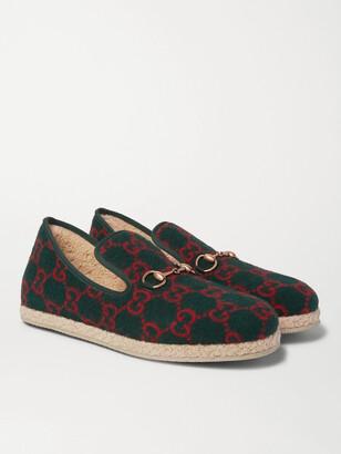 Gucci Horsebit Logo-Print Merino Wool Loafers - Men - Green