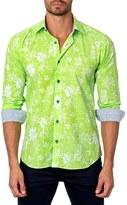Jared Lang Men's Trim Fit Floral Print Sport Shirt