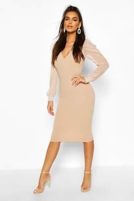 boohoo Puff Mesh Sleeve Midi Dress