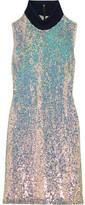 3.1 Phillip Lim Jersey-trimmed Sequined Silk Turtleneck Dress - Silver