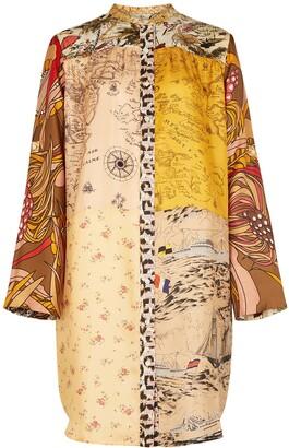 La Prestic Ouiston Printed silk-twill shirt dress