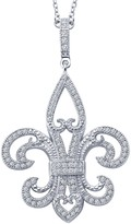 Lafonn Platinum Plated Sterling Silver Simulated Diamond Micro Pave Fleur Delis Pendant Necklace