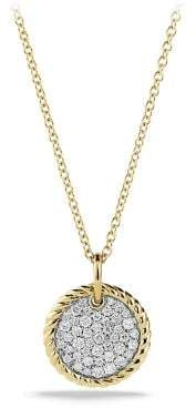 David Yurman Cable Collectibles Pave Charm Necklace With Diamonds In