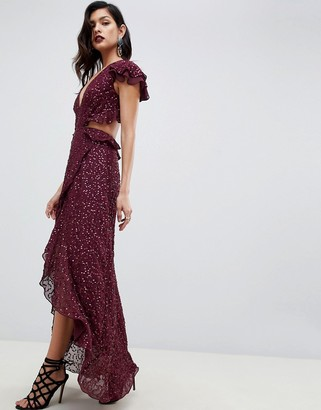 Asos Design DESIGN ruffle maxi dress with open back in all over sequin