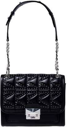 Karl Lagerfeld Paris Black Leather Small K/Kuilted Studs Top Handle Bag