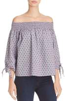 Aqua Off-the-Shoulder Swiss Dot Top - 100% Exclusive