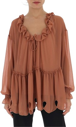 See by Chloe Sheer Tie-Neck Flared Blouse