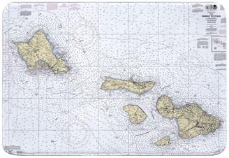 Island Girl Home, Inc. HI: Hawaii to Oahu, HI Nautical Chart Memory Foam Bath Mat