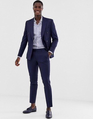 Moss Bros slim fit suit pants with stretch in navy