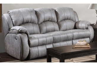"Cagney Microfiber/Microsuede Reclining 89"" Pillow Top Arm Sofa Southern Motion Fabric: Light Gray Microfiber/Microsuede"