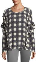 AG Jeans Bijou Round-Neck Check-Print Blouse w/ Ruffled Trim