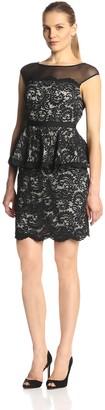 Eliza J Women's Sleeveless Illusion Lace Peplum Dress