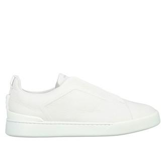 Ermenegildo Zegna Leather Sneakers With Elastic Laces