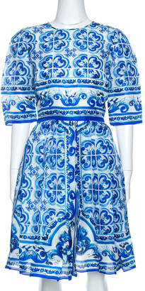 Dolce & Gabbana Blue Majolica Print Silk Organza Pleated Midi Dress M