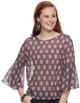 Juniors' Rewind Crochet Back Bell Sleeve Top