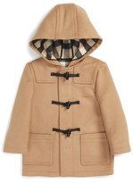 Burberry 'Brogan' Hooded Wool Toggle Coat (Toddler Boys)
