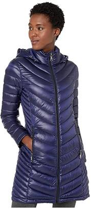 Calvin Klein Walker Length Packable with Chevron Quilt Lines (Pearlized Artisan Blue) Women's Coat