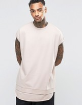 Asos Super Oversized T-Shirt In Heavyweight Fabric And Scooped Raw Curved Hem Extender