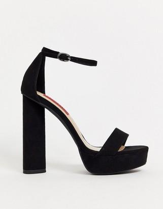 London Rebel extreme platform heeled sandals in black