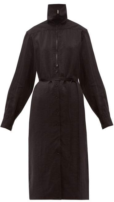 Lemaire Zipped Silk Blend Dress - Womens - Black